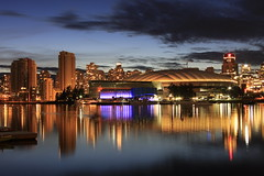 after the dragonboaters (SqueakyMarmot) Tags: longexposure urban reflection skyline night vancouver dock dusk mountpleasant dragonboat neighbourhood bcplacestadium southeastfalsecreek tgamcitystreetscapes