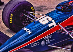 Indy Car on 35mm film (hz536n/George Thomas) Tags: blue red summer film car track indy scan vehicle kodachrome canonae1 smrgsbord cs3 qualifying indianapolis500 kodchrome topazadjust kartostal hz536n