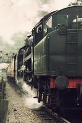 Steam train (moggsterb) Tags: railroad cloud train canon vintage track smoke engine puff railway steam signals rails locomotive engineer northyorkshire gravel steamtrain pickering yesteryear goathland sleepers grosmont streamlocomotive worx bygone northyorks t189 400d v87 aplusphoto