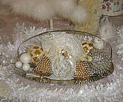 Vintage Beaded Ornament Centerpiece (Treasured Heirlooms) Tags: pink blue holiday bird vintage aqua linen antique pastel birdies