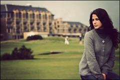 Simona at Old Course (manlio_k) Tags: green girl vintage golf scotland meadow course wife standrews simona manlio castagna oldcourse manliocastagna manliok