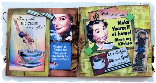 """Coffee"" Humorous Retro Paper Bag Altered Art Album"