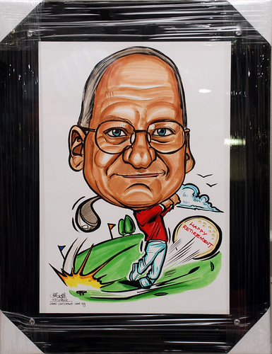 Golfer caricature AP Chartering in acrylic frame