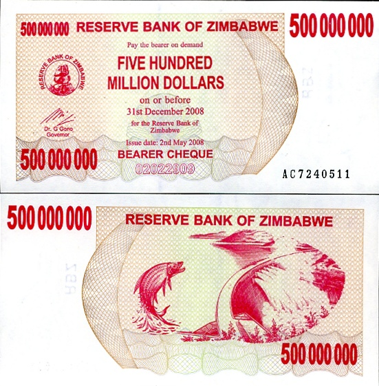 ZIMBABWE 500 MILL DOLLARS 2008 BEARER CHEQUE