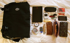 What's in my bag? (In Our Nature) Tags: espaa moleskine sunglasses bag keys cards glasses ipod wallet cellphone loccitane pens timbuk2 lipgloss whatsinmybag rayban bobbypins laguiole swissarmyknife rosebudsalve ipodtouch rosepastilles