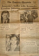 JFK In Augusta Chronicle - Little People Numbed, shot of vintage copy of The Augusta Chronicle, November 23rd, 1963, Augusta, Georgia, photo © 2008 by QuoinMonkey. All rights reserved