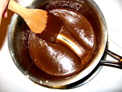 Brigadeiro, thickened - notice the bottom of the pan