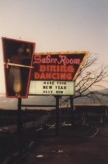 The Sabre Room banquette hall sign on West 95th Street. Hickory Hills Illinois. December 1982.