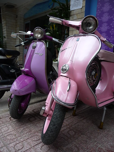 Vintage Vespa and Lambretra scooters in fab shades