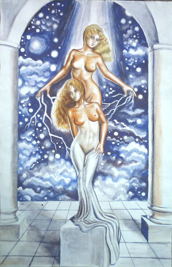 Afrodita si Galatea, acuarela.Legenda Galateei ma reprezinta intr-un fel pentru ca la fel ca si Pygmalion eu prin arta mea imi construiesc propria Galatee si ii dau viata prin sentimentele mele puternice