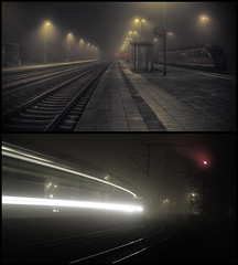 waiting for the night train (Paul Petruck) Tags: city longexposure mist home misty sepia night train industrial cityscape surreal jena electrical serie lightpollution mywinners