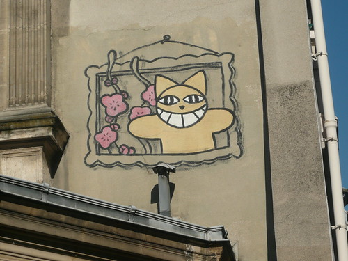 Graffiti Monsieur Chat sur un mur à Paris