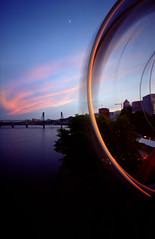 It all keeps on spinning, 240 seconds (Zeb Andrews) Tags: carnival sunset urban film oregon portland twilight cityscape waterfront ride pinhole hawthornebridge ferriswheel pdx funcenter willametteriver rosefestival zeroimage pinscape zero69 bluemooncamera fujipro800z zebandrews zebandrewsphotography