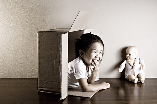 Little girl in box