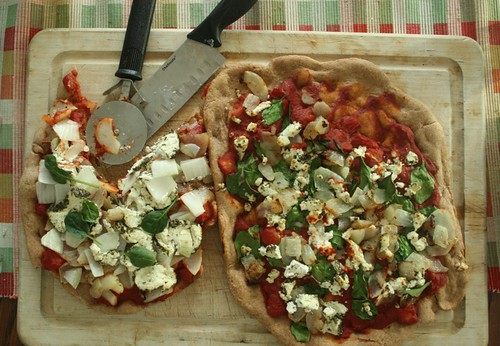 Spelt Pizza with Potato, Goat Cheese & Spinach