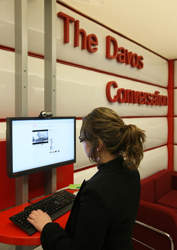 The Davos Conversation Corner run by YouTube at the Annual Meeting 2008 of the World Economic Forum in Davos, Switzerland, January 21, 2008.