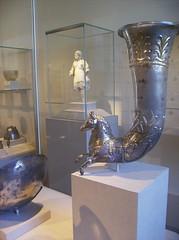 Silver-gilt rhyton (vase for libations or drinking): protome of a leaping horse (peterjr1961) Tags: nyc newyorkcity newyork art museum greek met themet metropolitanmuseumofart