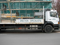 Erection specialists (Canarymgl) Tags: building truck construction funny scaffolding lorry erection load tyre witty