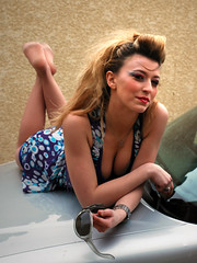 (Dlicate&Saine) Tags: blue portrait girl car sunglasses laurie pinup thepose justimagine