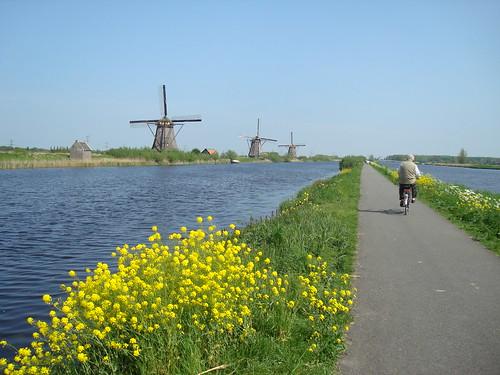 Moinhos de vento e bicicleta na Holanda