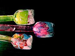 i c e c r e a m (ioSilvia) Tags: 3 black three colours colore icecream gelato tre colori tempera cucchiaio cucchiaini