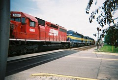 Eastbound Canadian Pacific freight train with former Iowa, Chicago & Eastern units acquired through 2007 merger. Elmwood Park Illinois. May 2008.