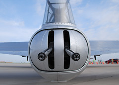 Wrong Way. (Bluedharma) Tags: colorado aircraft airshow b17 ww2 guns bomber flyingfortress aluminumovercast kapa b17g wingsovertherockies tailguns n5017n bluedharma 4enginebomber tailgunturret