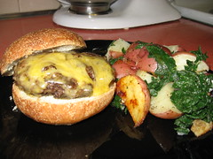 One Local Summer wk1: Yak Burger, Roasted Potatoes, Kale