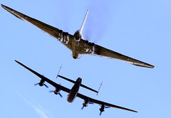 AVRO VULCAN and AVRO LANCASTER! SISTERS OF A DIFFERENT AGE! (Maximum 'Gee') Tags: uk england sexy roy beautiful plane canon war display unitedkingdom unique aircraft aviation wwii sigma nuclear rollsroyce olympus 100v10f aeroplane lincolnshire formation airshow international merlin planes lincoln stunning gb excellent lancaster ww2 vulcan bomber 2008 warbirds falklands warbird raf aeroplanes xm coldwar chadwick bombers airfield airbase avro waddington greatbritian vbomber flypast royalairforce 050708 bestofbritish bbmf xh558 bombercommand battleofbritianmemorialflight cityoflincoln phantomoftheruhr 05072008 eos1diii roychadwick tvoc 150500 07052008 blackbuckraid avrolancasterandavrovulcan pistonmeetsturbine dambustersraid vulcantotheskiestrust avrolancasterandavrovulcanflypast 5thofjuly2008 vulcantrust vulcanatwaddington