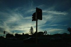 intersection (Doublethink Design) Tags: blue winter sky favorite white black tree silhouette clouds canon grey trafficlight photo skies suburban suburbia australia thesky explore powerlines photograph perth electricity wa intersection favourite digitalslr westernaustralia 000000 doublethink perthwa 400d themostimprobablething