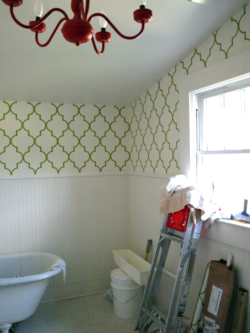 Our Bathroom Wallpaper Is Almost Completed! I'm So Excited