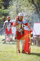 Roman Soldiers, Ermine Street Guard, Kelmarsh Festival of History (Steve Greaves) Tags: red italy rome leather silver army gold italian ancient war uniform catchycolours dress arms roman juliuscaesar sandals military helmet battle explore event sword imperial conflict soldiers historical shield recreation armour period invasion reenactment troops romanempire reenactors authentic legion romans invading armoury reconstruction invaders 2007 cohort legionary spear livinghistory reenacting warfare breastplate englishheritage festivalofhistory kelmarsh erminestreetguard nikonf50 gladius battledress explored kelmarshhall paxromana fightingforce 43ad lenscosina28210mmf4265