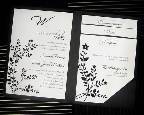 Wedding Invitation, Black and White floral Wedding Invitation, wedding cakes, flowers, invitation, photos, gowns, dresses