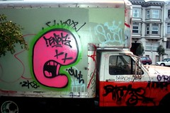 enor truck (caffeina) Tags: sf sanfrancisco street city pink truck sunrise dawn graffiti graf masonic aesop saro handstyles jist dwt nopa enor swerv westadd