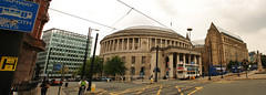 Manchester Library (sjs.sheffield) Tags: city urban panorama buses manchester library townhall photomerge stpeterssquare centrallibrary stitchingsoftware panomania sjssheffield