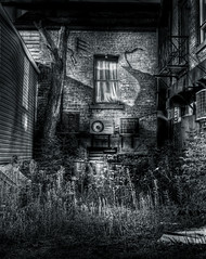 Spooky Alley (FingerLickinBobaFett) Tags: bw film alley creepy spooky 4x5 largeformat tonemapped