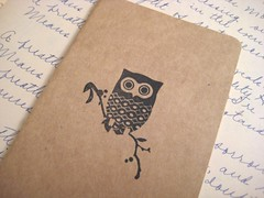 Lonely Owl - Moleskine Pocket Cahier (boundto) Tags: moleskine notebook journal owl etsy kraft boundto bookbindingteam