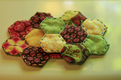 English paper pieced coasters - the other side