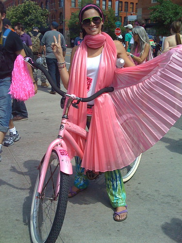 Gabrielle Cohen at the DNC on a bicycle for CODEPINK2