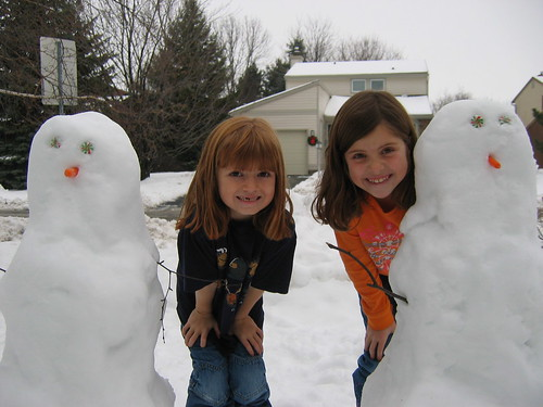 Girls with their snowmans