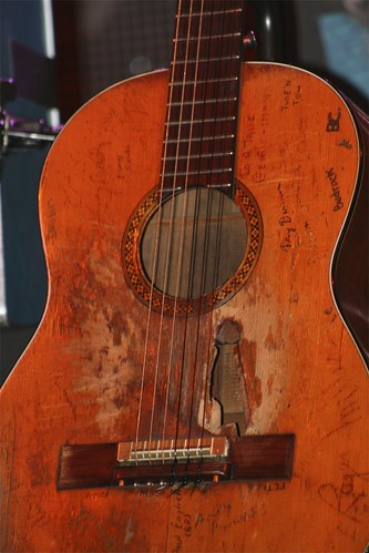 Trigger, Willies Martin N-20 guitar, covered with autographs and worn from years of play