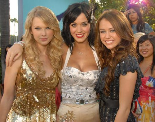 Miley Cyrus, Taylor Swift, and Katy Perry