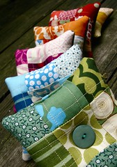 s i x patchwork pincushions. ({ philistine made }) Tags: colorful pin handmade sewing quilted handsewn pincushion patchwork cushion 100philistinemade