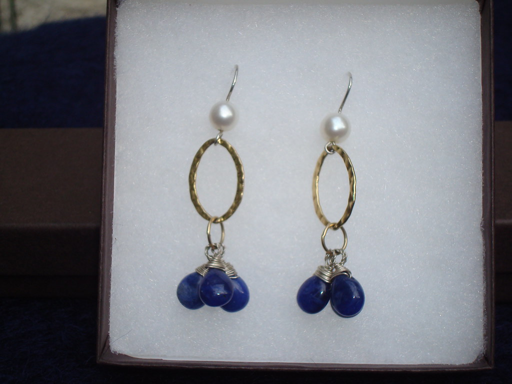 lapis teradrop with hammered hoop