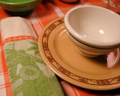 Ready for Dinner (prima seadiva) Tags: orange vintage dish tan diner dishes tablesetting restaurantware tanbody restaurantchina
