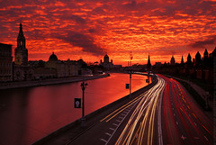 On fire 2 (Andrey Permitin) Tags: sunset red tower reflections colorful moscow lighttrails kremlin   cubism hurch       nikond200  slihouettes flickrsbest tamron1750  aplusphoto   bestcaptureaoi
