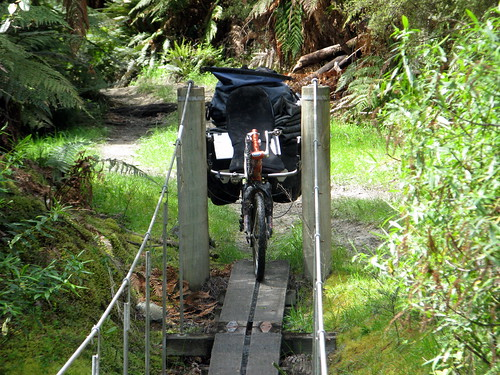 Biek too wide for swing bridge on the Mangapurua Track, Whanganui National Park, New Zealand