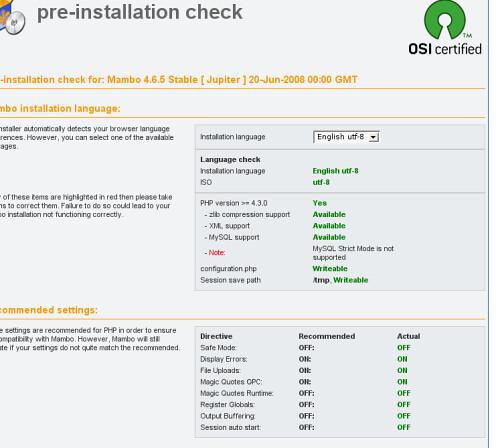 mambo pre requirement check