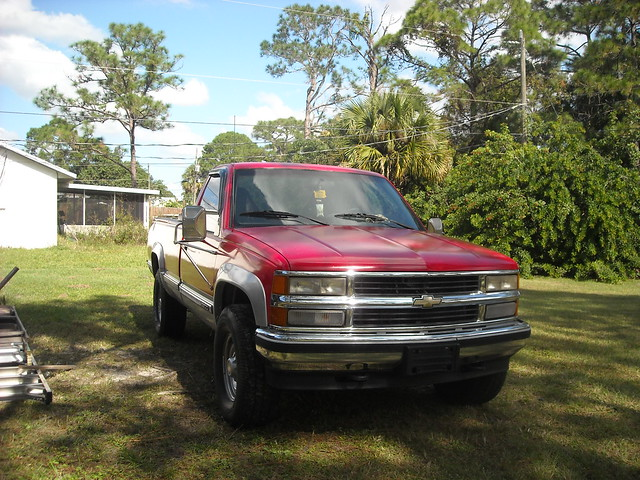 red truck 4x4 chevy 1994 2500 454