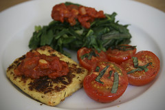 Pan-Fried Tofu with Roasted Tomatoes and Steamed Spinach